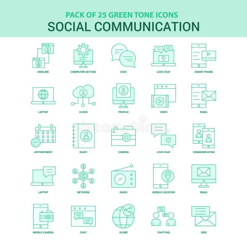 25绿色社会通信象集合 向量例证