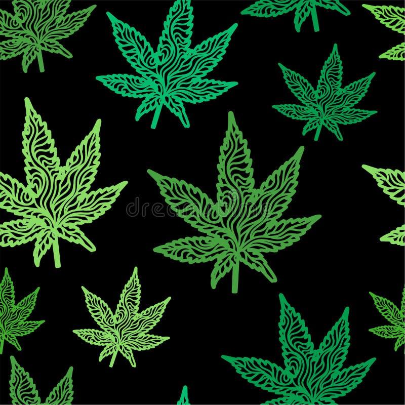绿色禅宗大麻生叶无缝的样式 免版税库存图片