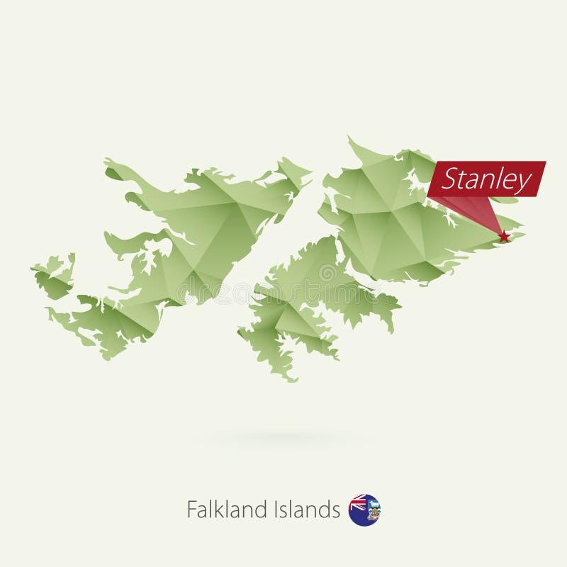 绿色福克兰群岛的梯度低多地图有资本的斯坦利 库存例证