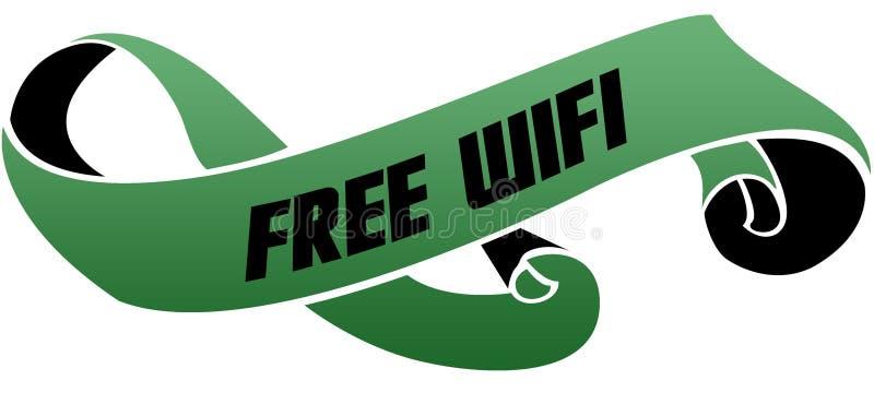 绿色移动了与自由WIFI消息的丝带 皇族释放例证