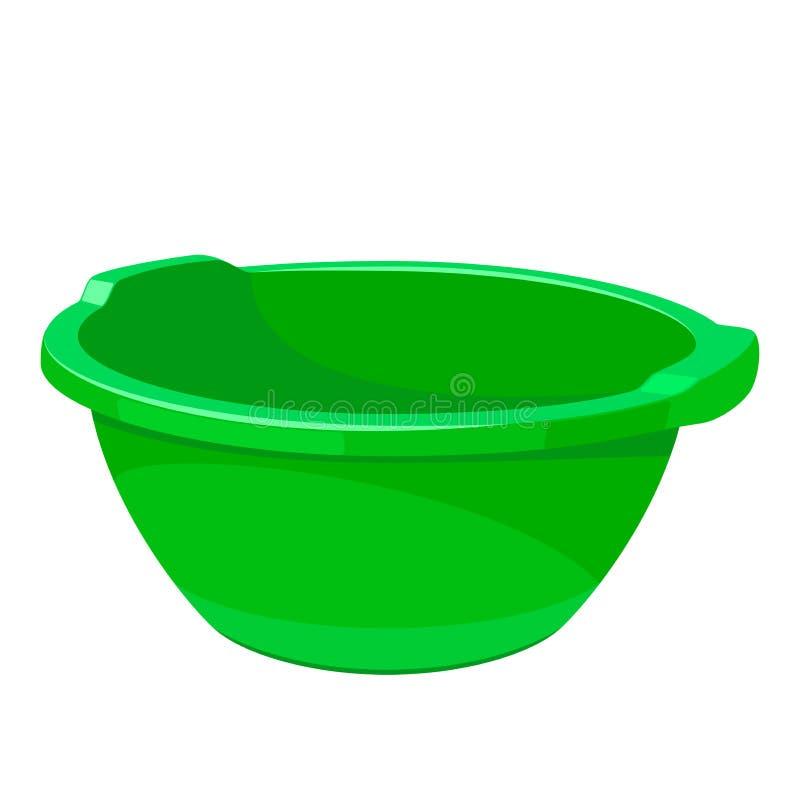 绿色空的面盆 向量例证