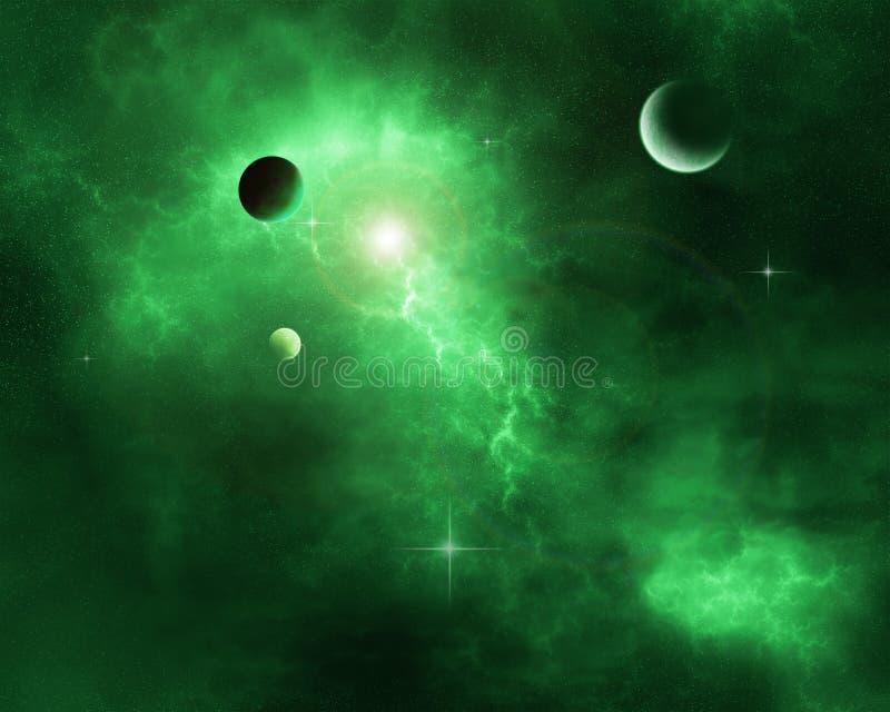 绿色空间星云 免版税图库摄影