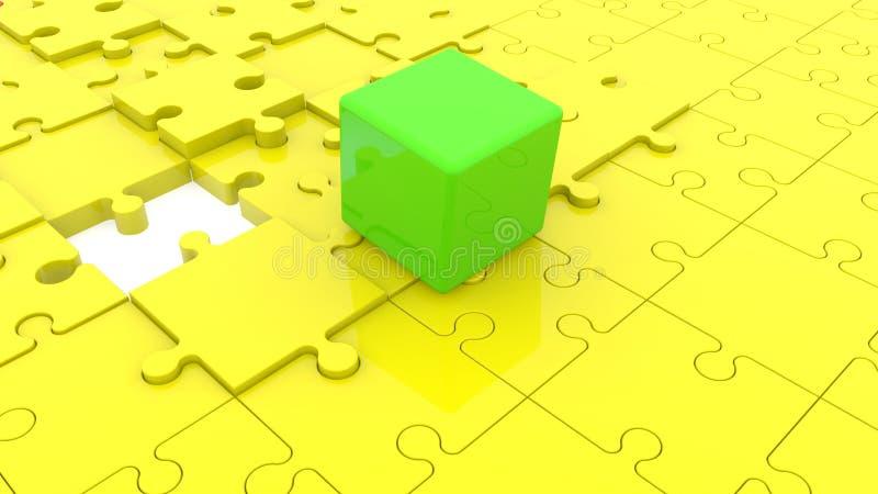 绿色立方体背景在黄色难题的 皇族释放例证