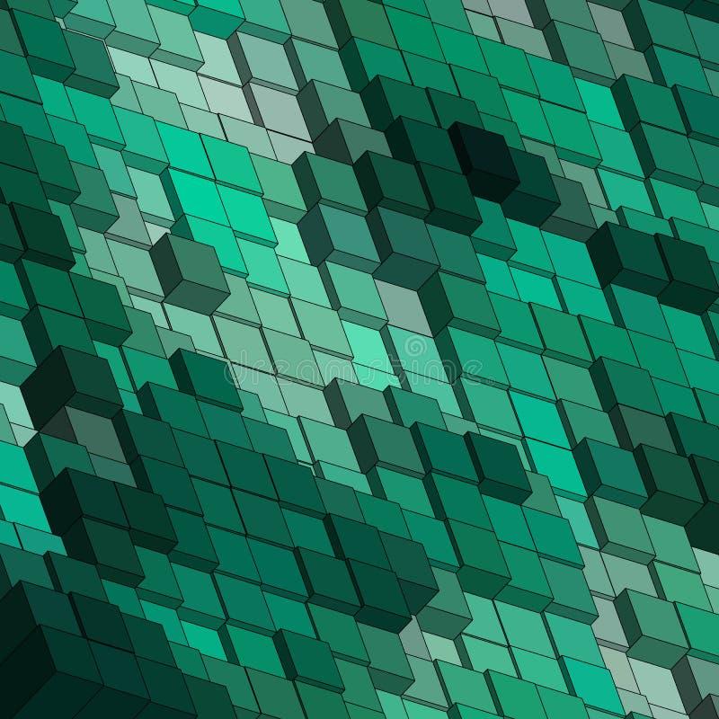 绿色立方体 抽象传染媒介背景影像- Vektorgrafik 10 eps 库存例证