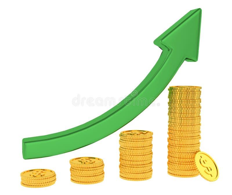 绿色箭头和在白色背景隔绝的金黄美元硬币长条图图  3d?? 财政成功概念 向量例证