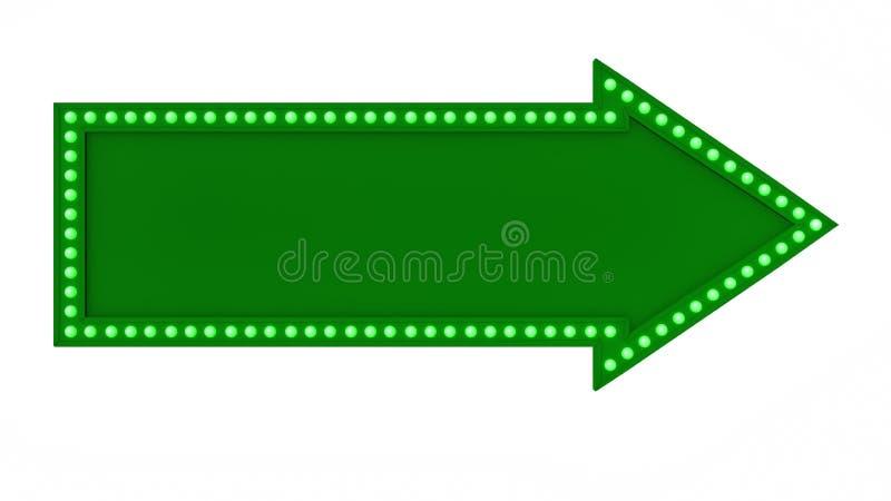 绿色箭头大门罩光板标志减速火箭在白色背景 3d翻译 向量例证