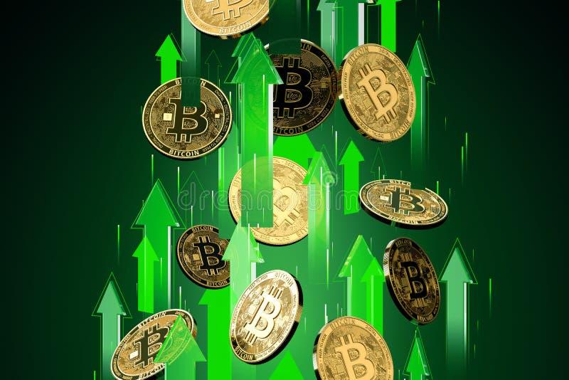 绿色箭头射击与作为Bitcoin BTC价格上升的高速度 Cryptocurrency价格增长,高危险-高赢利 库存例证