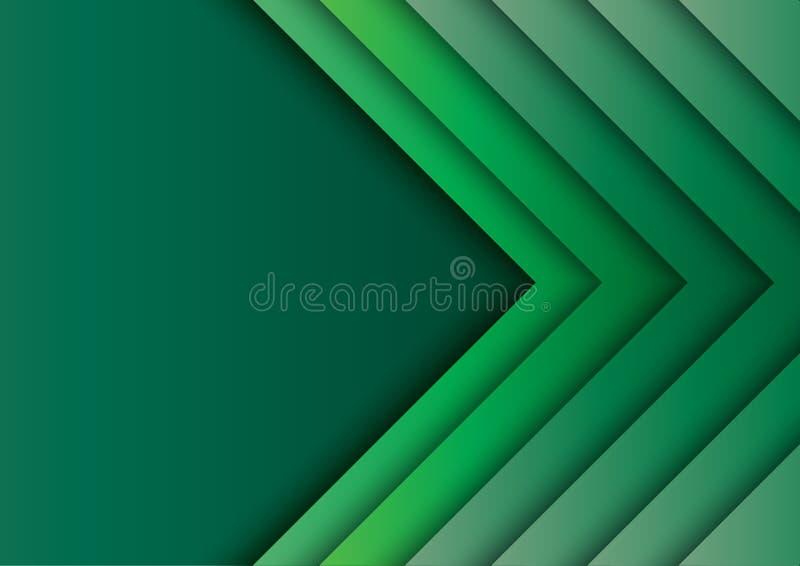 绿色箭头提取与纸艺术样式的背景 库存例证