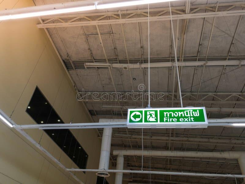 绿色紧急出口签到显示方式的超级市场对esca 库存图片