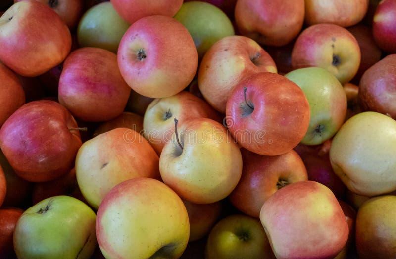 绿色红色苹果背景被卖在城市市场上 免版税库存图片