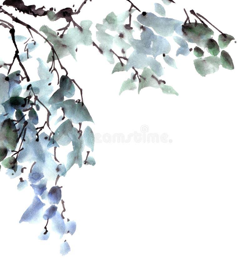 绿色结构树叶子 库存例证