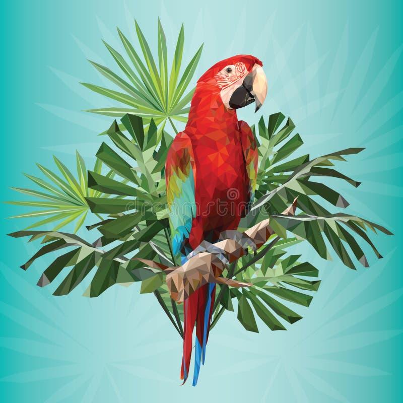 绿色翼金刚鹦鹉例证多角形图画  库存例证