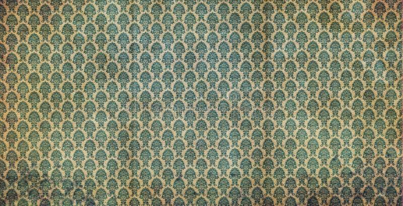 绿色老墙纸 库存例证