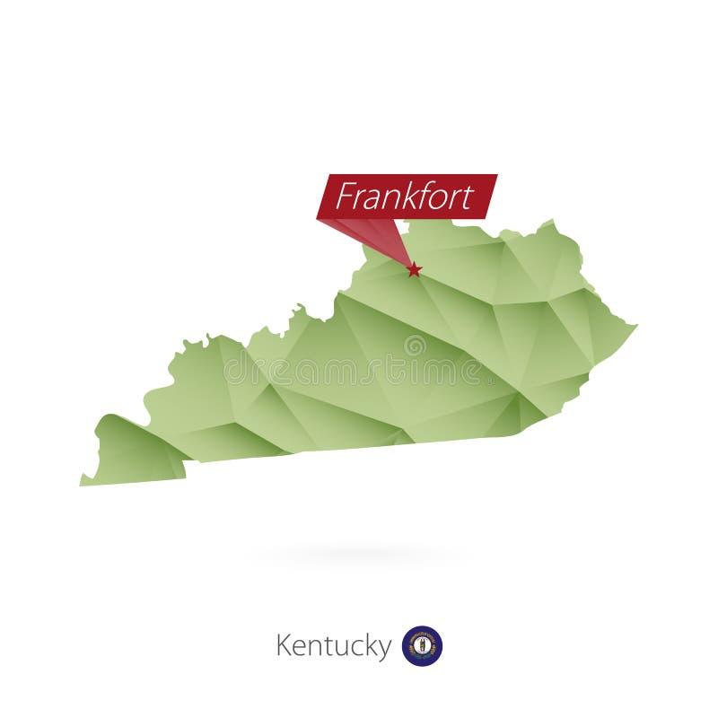 绿色肯塔基的梯度低多地图有首都的法兰克福 皇族释放例证