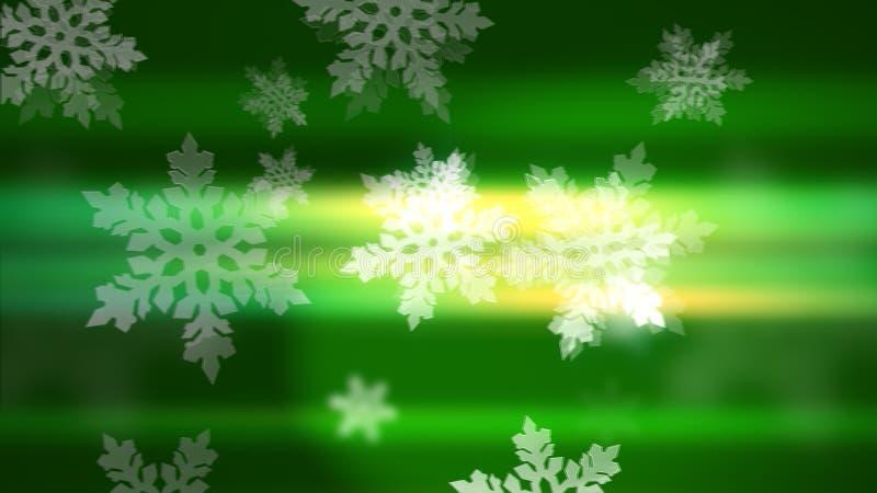 绿色背景中的雪花 免版税库存图片