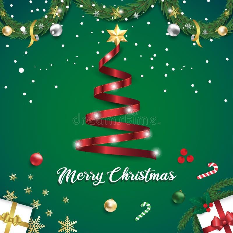 绿色背景横幅上的圣诞快乐丝带树 库存例证