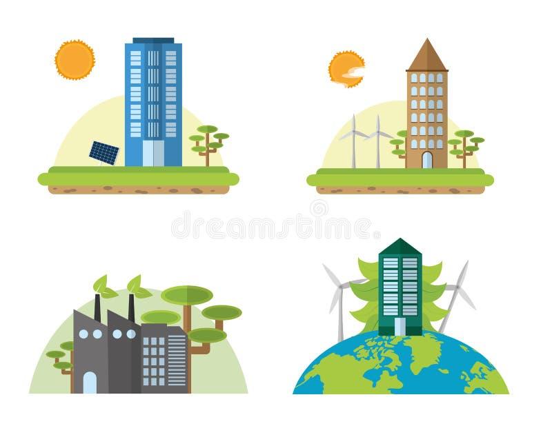 绿色能量和城市 向量例证