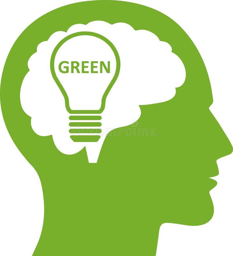 绿色能量想法电灯泡标志象 向量例证