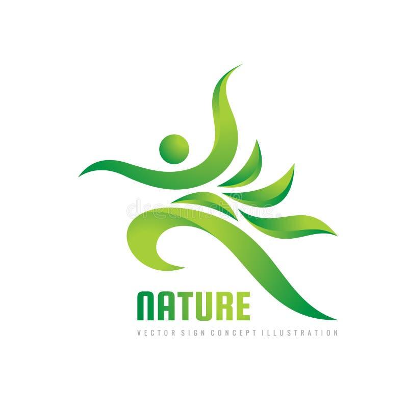 绿色自然传染媒介商标模板 健康标志 健身妇女概念例证 与叶子的人的字符 自由象 皇族释放例证