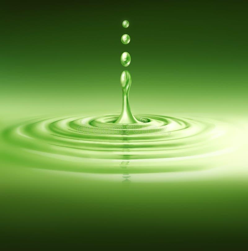绿色自然反映飞溅水 库存例证
