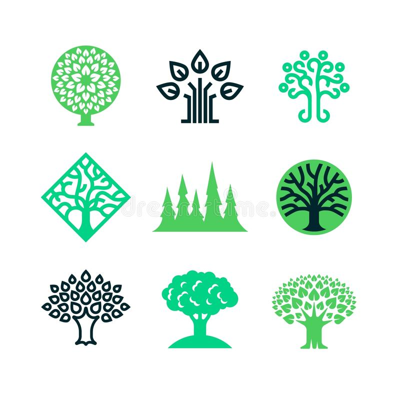 绿色自然树商标 Eco教育传染媒介概念 皇族释放例证