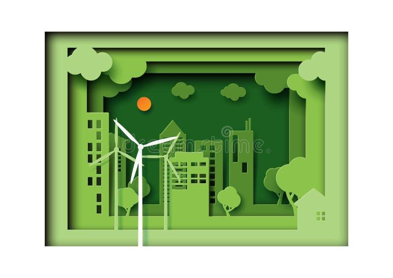 绿色自然风景的b eco友好的都市城市纸艺术  皇族释放例证