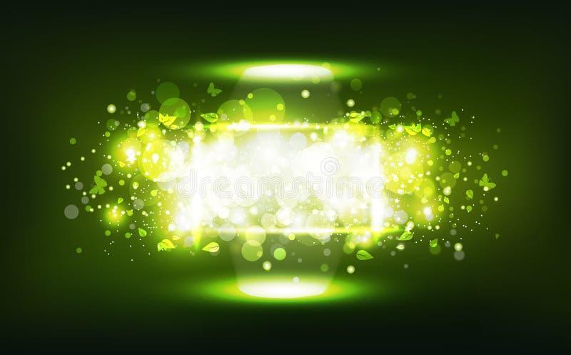 绿色自然,担任主角霓虹框架庆祝五彩纸屑,叶子和buttefly驱散明亮发光,Bokeh模糊的抽象背景 向量例证