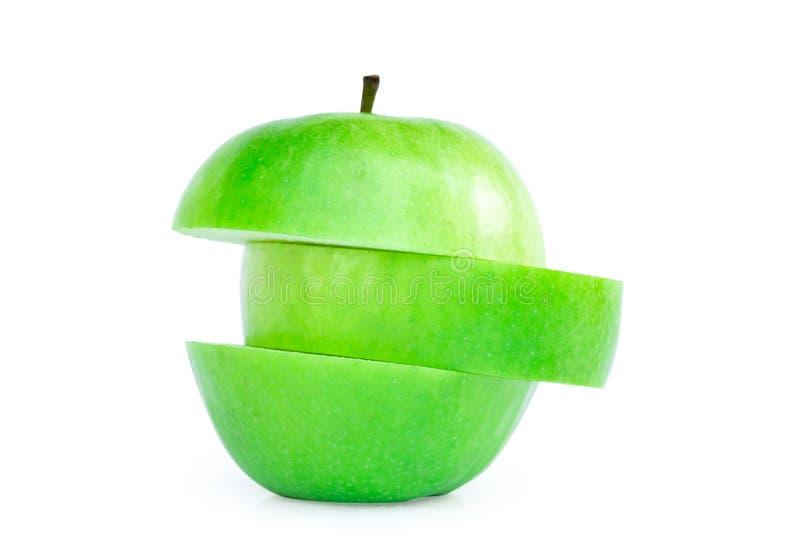 绿色苹果切片在白色背景,果子健康浓缩solated 免版税库存图片