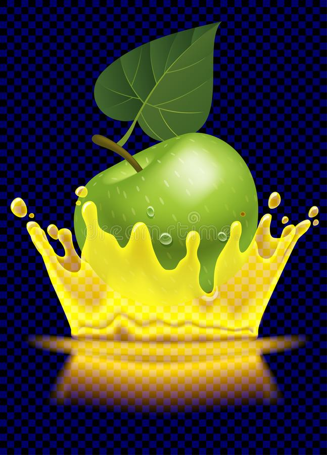 绿色苹果和汁液透明飞溅冠  库存例证