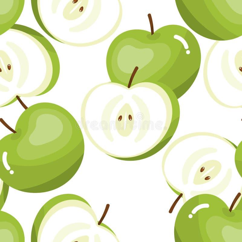 绿色苹果无缝的样式 库存例证