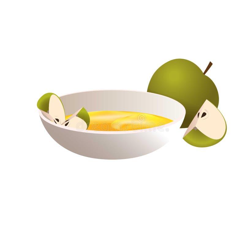 绿色苹果蜂蜜象,动画片样式 库存例证