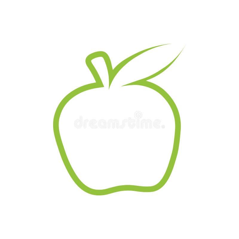 绿色苹果计算机传染媒介概述象 现代最小的平的设计样式 苹果商标例证黑白照片  皇族释放例证