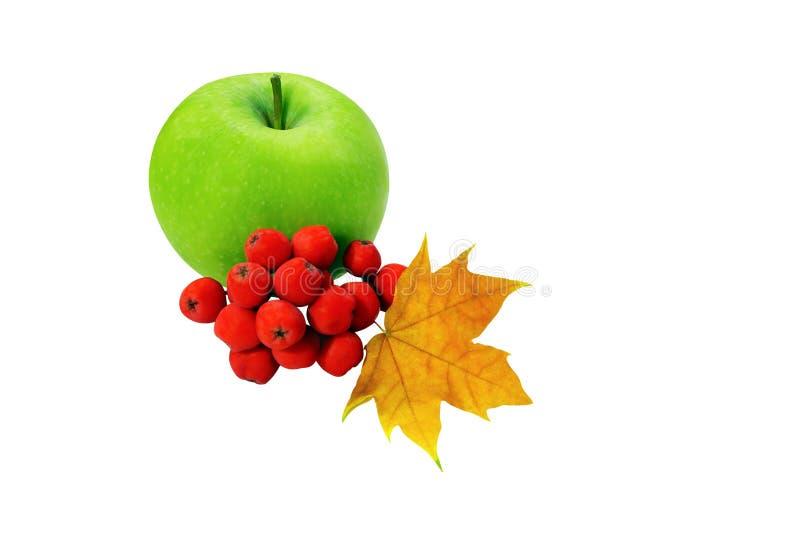 绿色苹果,与在白色背景隔绝的楔子叶子的莓果 免版税库存照片