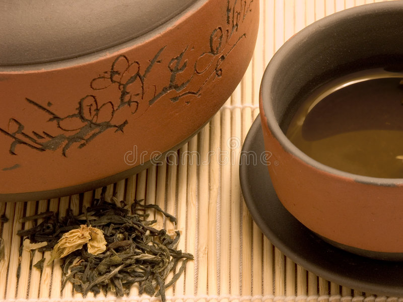 绿色茉莉属茶 免版税库存图片
