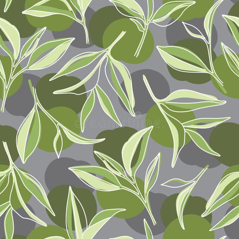 绿色茶叶 在灰色背景的Matcha图表样式 向量例证