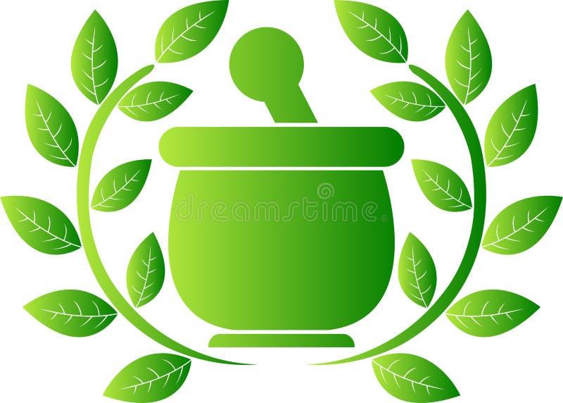 绿色草本徽标 皇族释放例证
