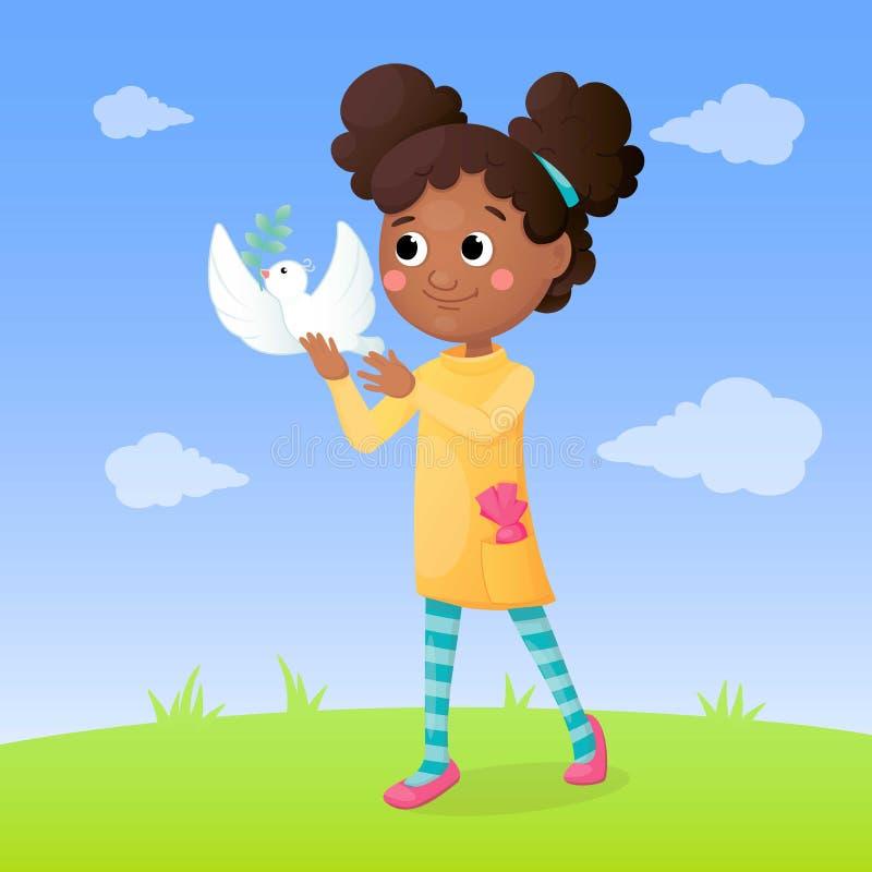 绿色草甸的阿拉伯女孩有白色鸠的在她的手和天空蔚蓝上 自由和和平概念 r 向量例证
