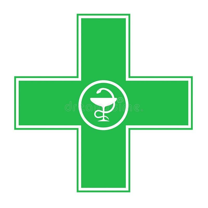 绿色药房十字架 皇族释放例证