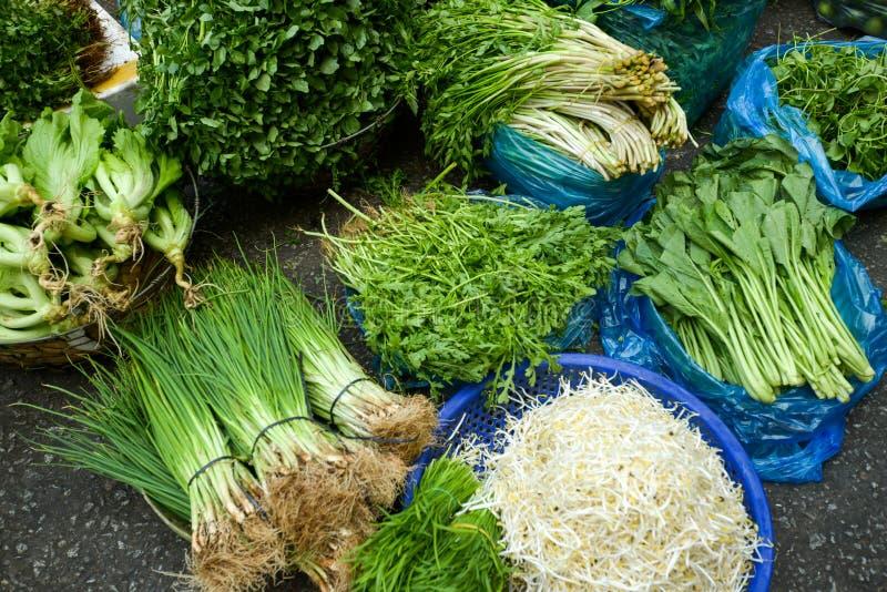 绿色菜义卖市场亚洲 免版税库存图片