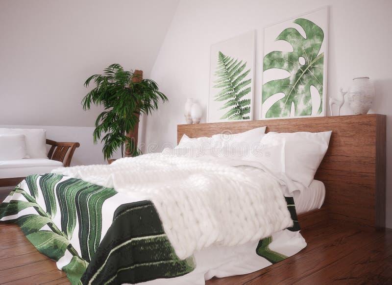 绿色葡萄酒卧室内部 免版税库存照片