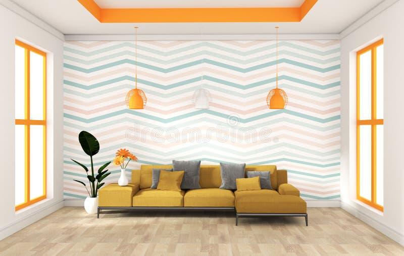 绿色薄荷的与沙发餐具柜的墙壁现代设计在木地板内部 3d?? 向量例证