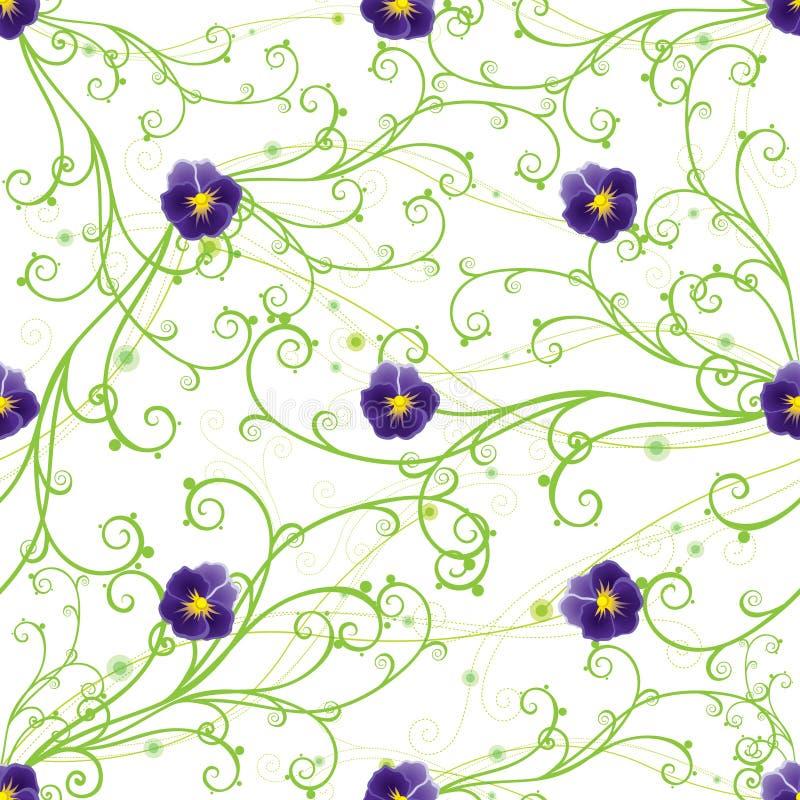 绿色蝴蝶花紫色漩涡 免版税库存图片