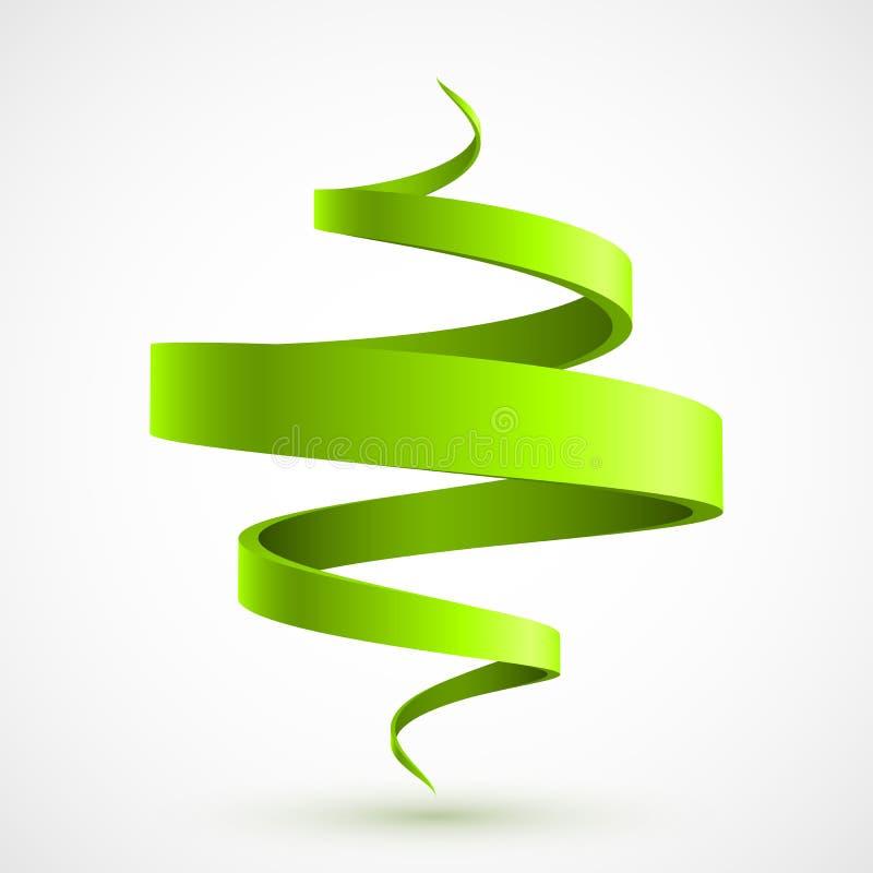 绿色螺旋3D 库存例证