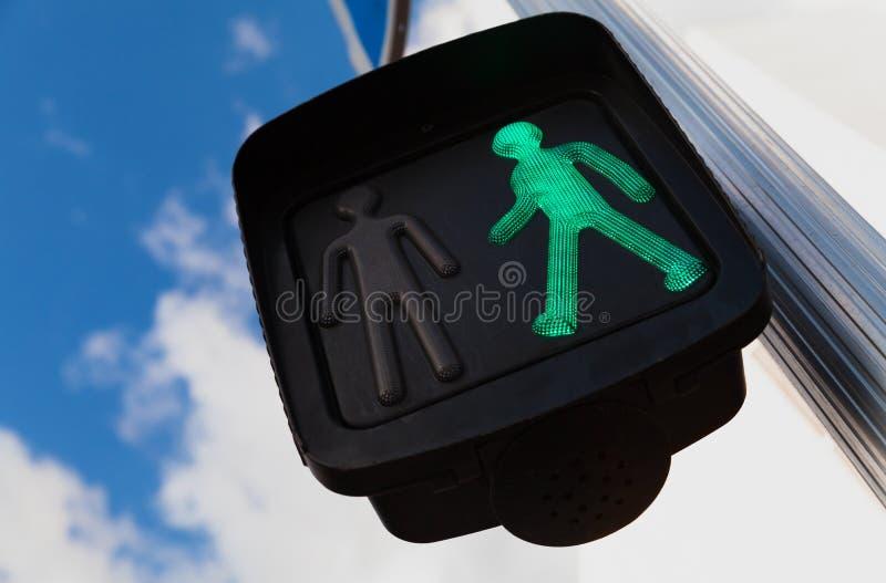 绿色行人交叉路红灯 免版税图库摄影