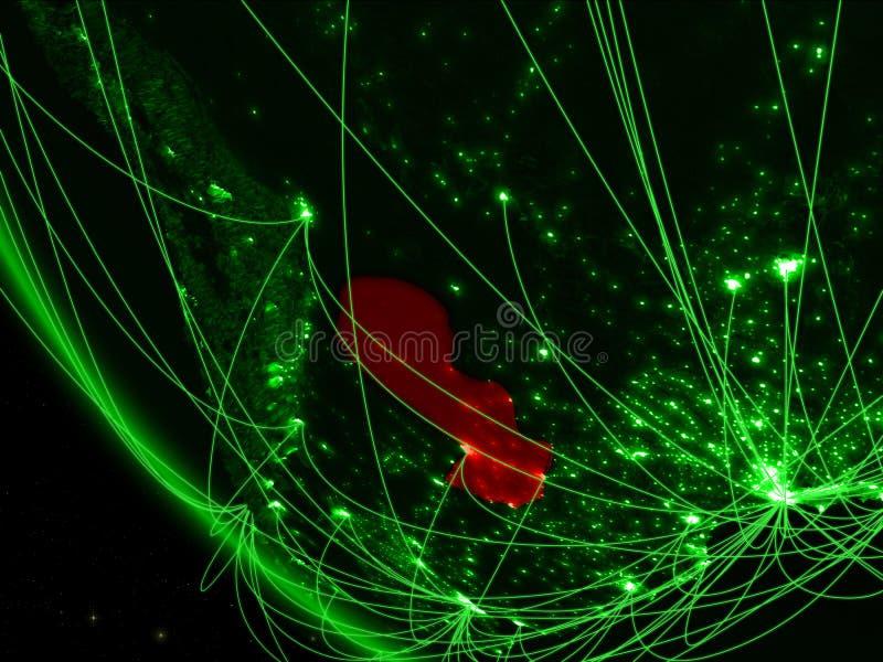 绿色行星地球上的巴拉圭从与网络的空间 国际通信、技术和旅行的概念 3d 皇族释放例证
