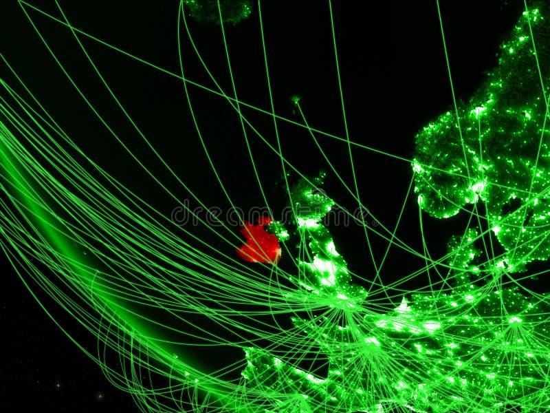 绿色行星地球上的爱尔兰从与网络的空间 国际通信、技术和旅行的概念 3d 库存例证