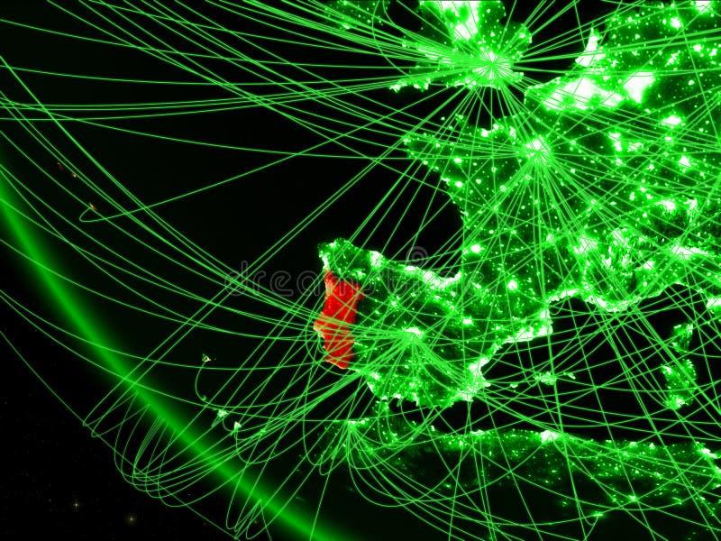 绿色行星地球上的葡萄牙从与网络的空间 国际通信、技术和旅行的概念 3d 库存例证
