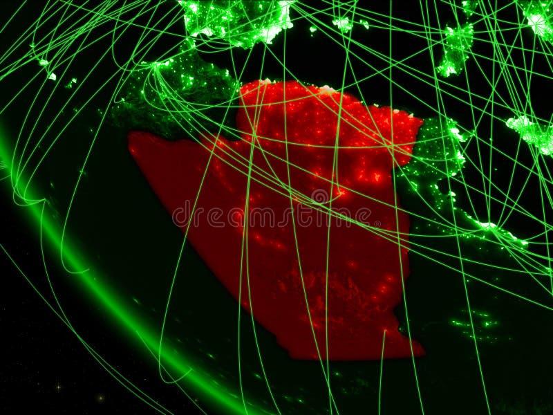 绿色行星地球上的阿尔及利亚从与网络的空间 国际通信、技术和旅行的概念 3d 向量例证