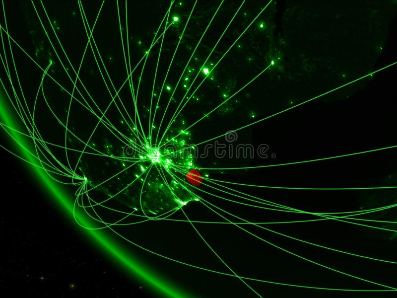 绿色行星地球上的eSwatini从与网络的空间 国际通信、技术和旅行的概念 3d 库存例证