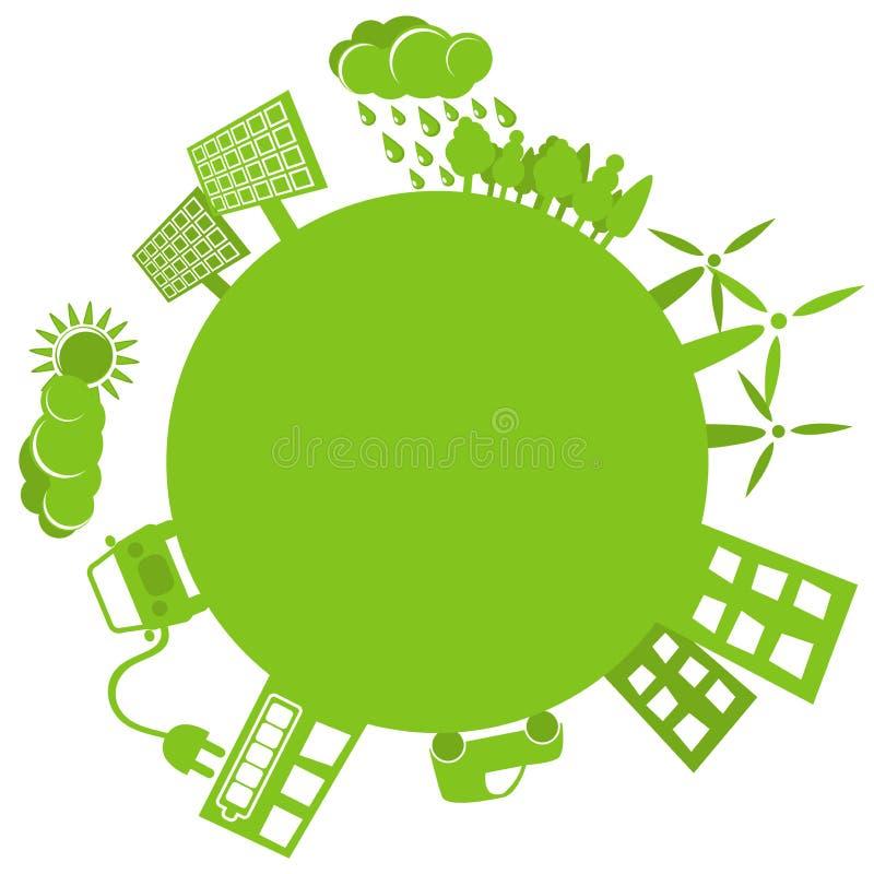 绿色行星简单的徽标 向量例证
